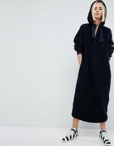 Платье-свитшот из искусственного меха с капюшоном ASOS WHITE - Темно-синий