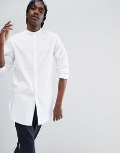 Белая длинная рубашка классического кроя с воротником на пуговице ASOS - Белый