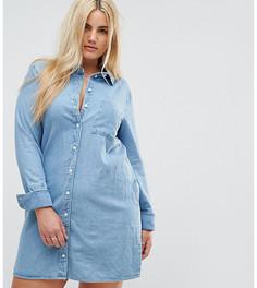 Джинсовое платье-рубашка ASOS CURVE - Синий