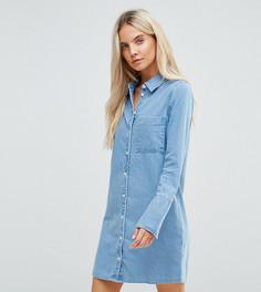 Джинсовое платье-рубашка ASOS PETITE - Синий