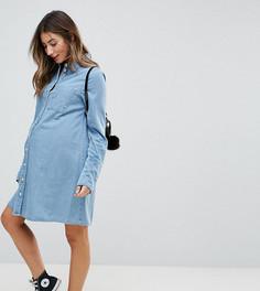 Джинсовое платье-рубашка ASOS MATERNITY - Синий