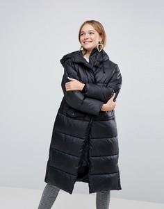 Длинное дутое пальто Monki - Черный