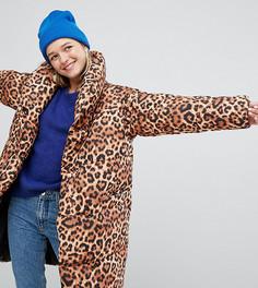 Свободное дутое пальто с леопардовым принтом Monki - Мульти