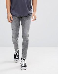 Черные укороченные джинсы скинни с эффектом кислотной стирки ASOS - Черный