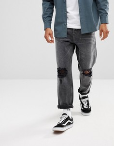 Черные рваные джинсы свободного кроя ASOS - Черный