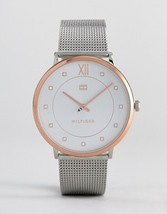 Серебристые часы с сетчатым браслетом Tommy Hilfiger 1781811 Sloane - Серебряный