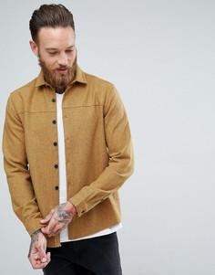 Рубашка навыпуск из ткани горчичного цвета с добавлением шерсти ASOS - Желтый