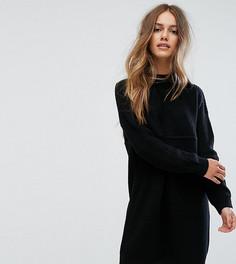 Трикотажное платье в рубчик с высоким воротом ASOS PETITE - Черный