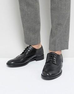 Черные кожаные броги Frank Wright - Черный