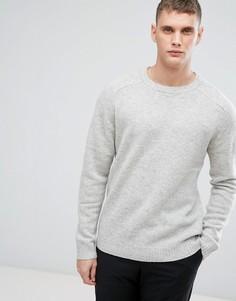 Вязаный джемпер из 100% овечьей шерсти Selected Homme - Серый