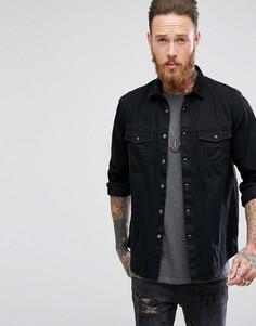 Джинсовая рубашка навыпуск с вельветовым воротником ASOS - Черный