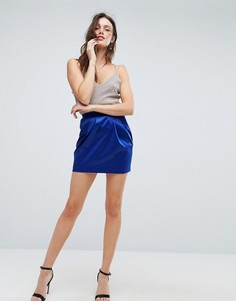 Атласная юбка-тюльпан мини ASOS - Синий