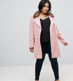 Пальто с леопардовым принтом на воротнике ASOS CURVE - Розовый