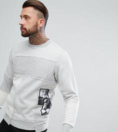 Свитшот с фотопринтом и вышивкой на накладках Diesel - Серый