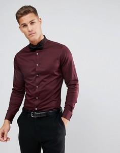 Бордовая узкая атласная рубашка с широким воротником и двойными манжетами ASOS - Красный