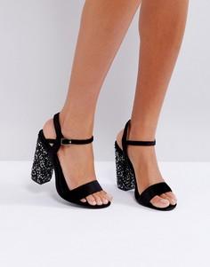 Босоножки на блочном каблуке с отделкой Truffle Collection - Черный