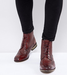 Бордовые броги на шнуровке для широкой стопы ASOS - Красный