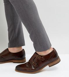 Коричневые кожаные монки-броги для широкой стопы ASOS - Коричневый