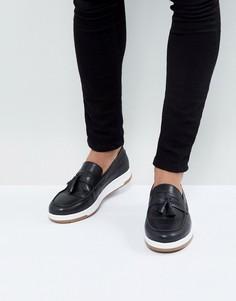 Черные кожаные лоферы с белой подошвой ASOS - Черный