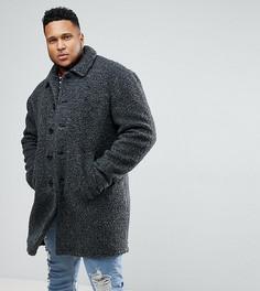 Темно-серое пальто из искусственного меха ASOS PLUS - Серый