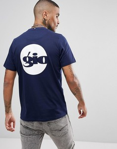 Темно-синяя футболка логотипом на спине Gio Goi - Темно-синий