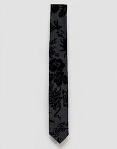 Галстук с флоковым узором Noose & Monkey - Черный