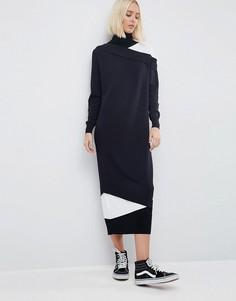 Ярусное платье миди с отворачивающимся воротником ASOS WHITE - Мульти