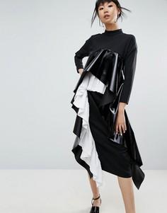 Платье макси с ярусными складками ASOS WHITE - Черный