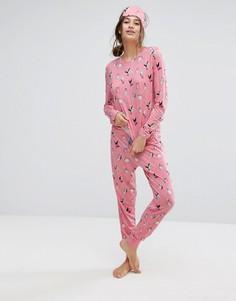 Пижамный комплект с принтом пингвинов Chelsea Peers - Розовый