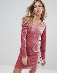 Бархатное облегающее платье с бахромой Glamorous - Розовый