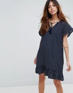 Платье с принтом, оборками на рукавах и завязкой Vero Moda - Темно-синий