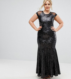 Платье макси plus-size с короткими рукавами и сетчатой вставкой Club L - Черный
