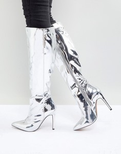 Высокие сапоги с острым носком ASOS CAIDEN - Серебряный