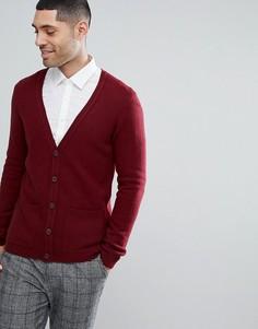 Бордовый кардиган из овечьей шерсти ASOS - Красный