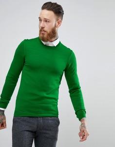 Зеленый обтягивающий джемпер из мериносовой шерсти ASOS - Зеленый