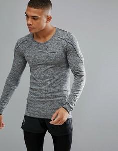 Серый трикотажный лонгслив для бега Craft Sportswear Active Comfort 1903716-9999 - Черный