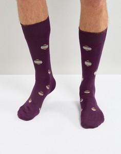 Бордовые носки в разноцветный горошек Paul Smith - Красный