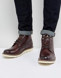 Кожаные ботинки винного цвета на шнуровке Dune - Красный