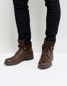 Ботинки в стиле милитари с замшевой отделкой Dune - Коричневый
