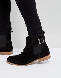 Черные замшевые ботинки челси с пряжкой Dune - Черный