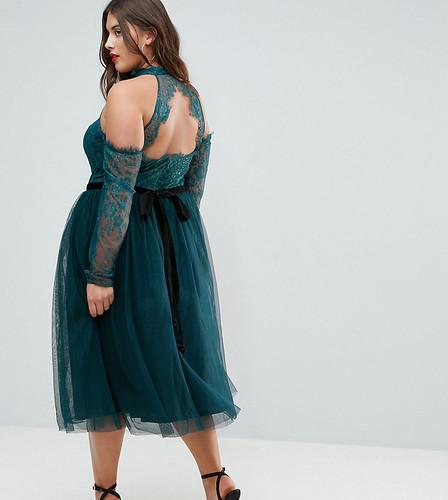 Платье миди для выпускного из тюля с открытыми плечами ASOS CURVE PREMIUM - Зеленый