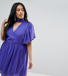 Приталенное платье с расклешенными рукавами ASOS CURVE - Синий