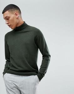Джемпер с отворачивающимся воротником и добавлением шелка Selected Homme - Зеленый