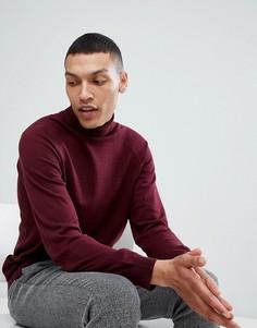 Джемпер с отворачивающимся воротником и добавлением шелка Selected Homme - Красный