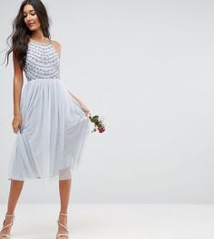 Платье миди с бисерной отделкой ASOS TALL WEDDING - Зеленый