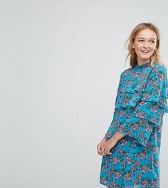Свободное платье с цветочным принтом и оборками Monki - Синий