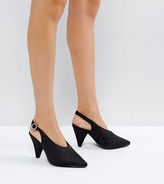 Черные туфли на каблуке для широкой стопы с высоким передом и конусообразным каблуком New Look - Черный