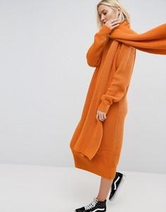 Платье миди крупной вязки с шарфом ASOS WHITE - Мульти