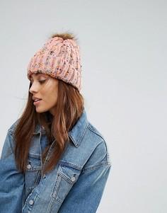 Вязаная шапка-бини с помпоном 7X - Розовый