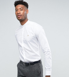 Облегающая эластичная рубашка с воротником с застежкой на пуговицах Farah TALL - Белый